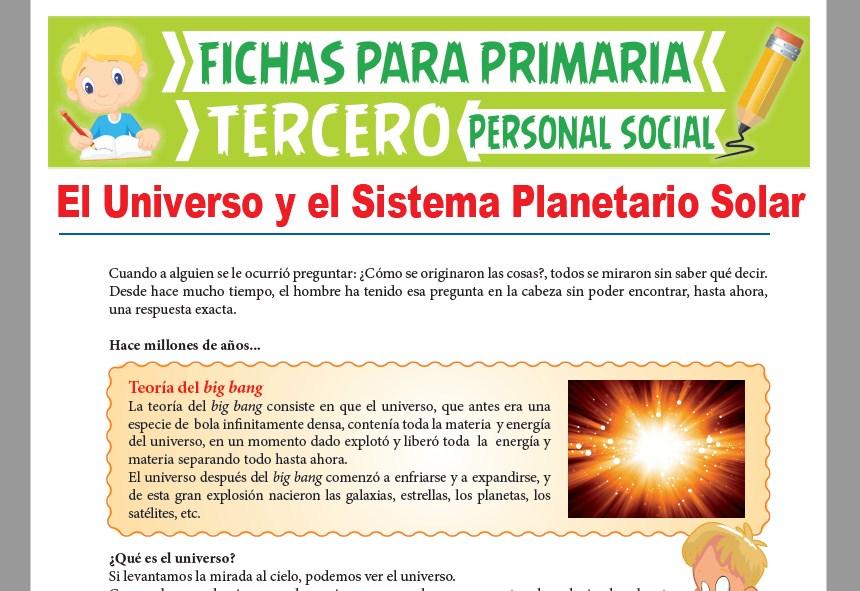 Ficha de El Universo y el Sistema Planetario Solar para Tercer Grado de Primaria
