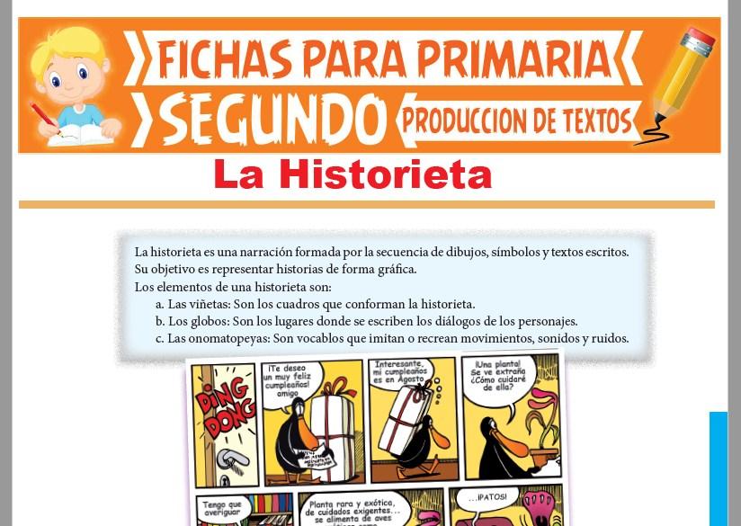 Ficha de Elementos de una Historieta para Segundo Grado de Primaria
