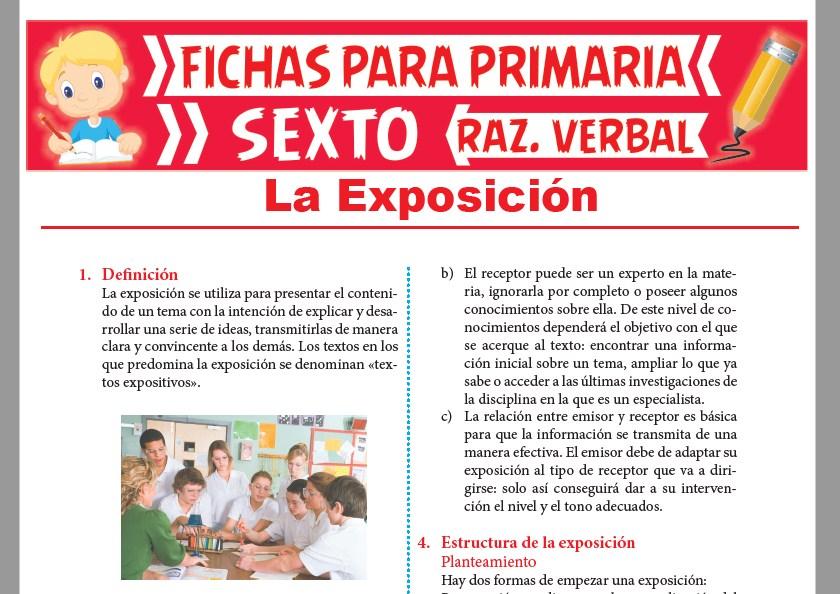 Ficha de Estructura de la Exposición para Sexto Grado de Primaria