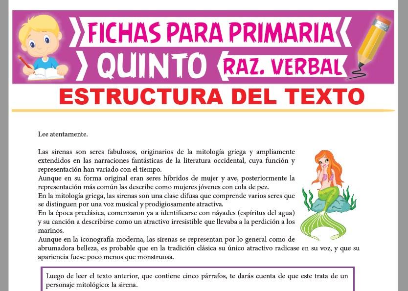 Estructura del Texto para Quinto Grado de Primaria