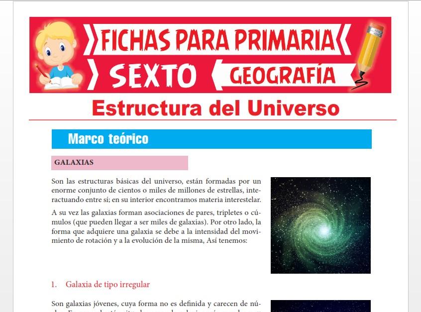 Ficha de Estructura del Universo para Sexto Grado de Primaria