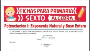 Ficha de Exponente Natural y Base Entera para Sexto Grado de Primaria