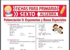 Ficha de Exponentes y Bases Especiales para Sexto Grado de Primaria
