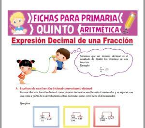 Ficha de Expresión Decimal de una Fracción para Quinto Grado de Primaria