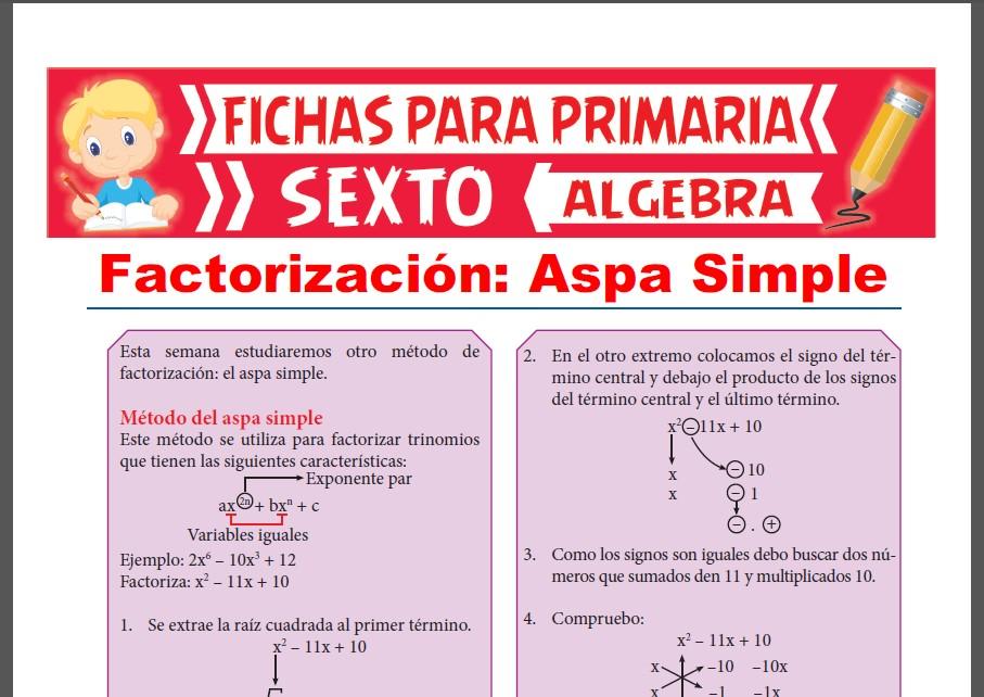 Ficha de Factorización por Aspa Simple para Sexto Grado de Primaria