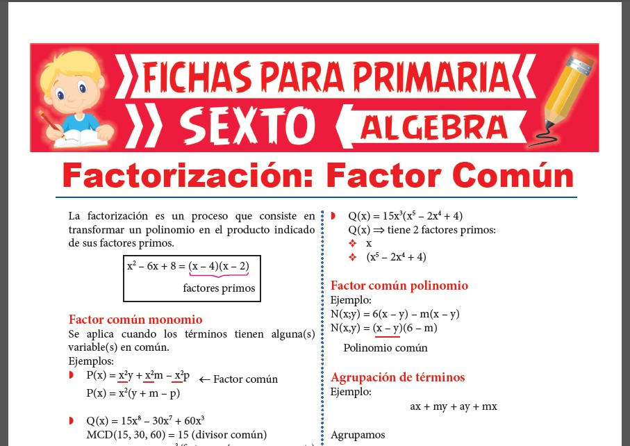 Ficha de Factorización por Factor Común para Sexto Grado de Primaria