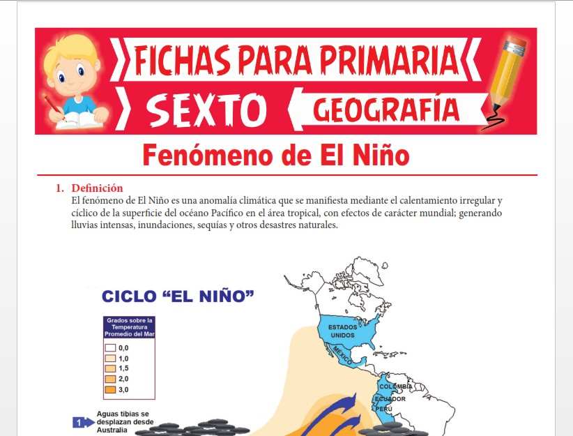 Ficha de Fenómeno de El Niño para Sexto Grado de Primaria