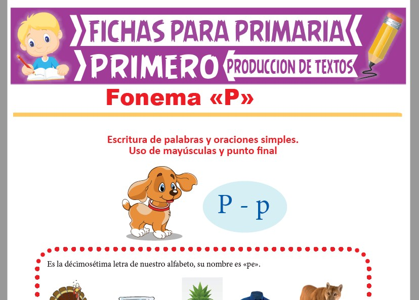 Ficha de Fonema P para Primer Grado de Primaria