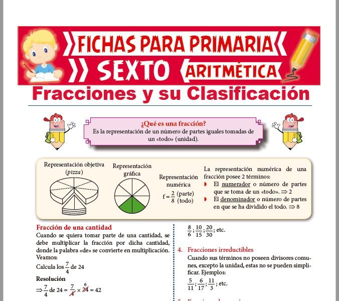 Ficha de Fracciones y su Clasificación para Sexto de Primaria