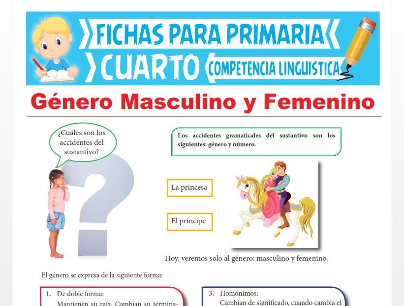 Ficha de Género Masculino y Femenino para Cuarto Grado de Primaria