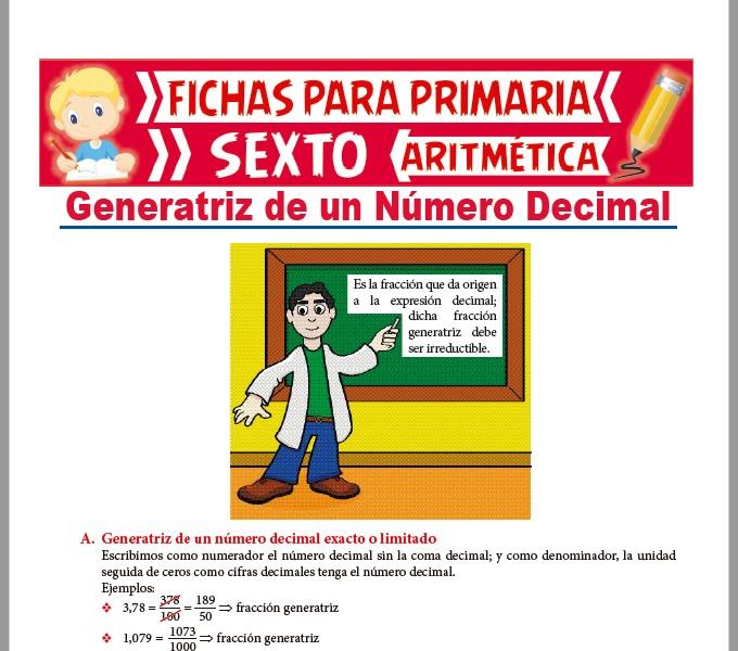 Ficha de Generatriz de un Número Decimal para Sexto de Primaria