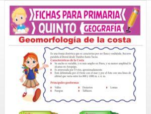 Ficha de Geomorfología de la Costa para Quinto Grado de Primaria