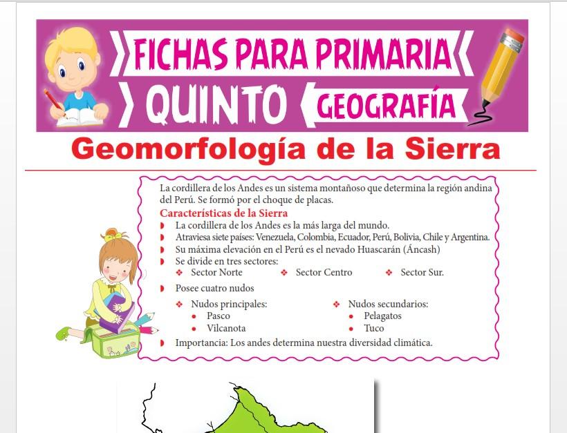 Ficha de Geomorfología de la Sierra para Quinto Grado de Primaria
