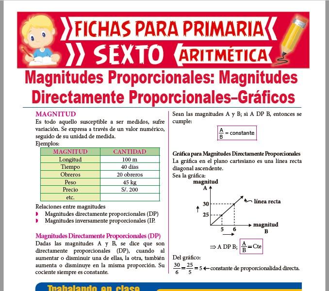 Ficha de Gráficos de Magnitudes Directamente Proporcionales para Sexto de PrimariaFicha de Gráficos de Magnitudes Directamente Proporcionales para Sexto de Primaria