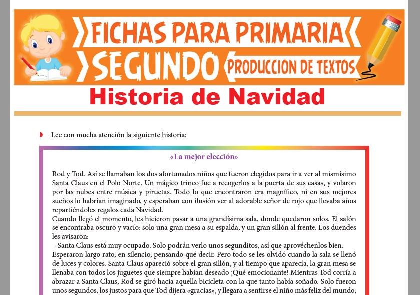 Ficha de Historia de Navidad para Segundo Grado de Primaria