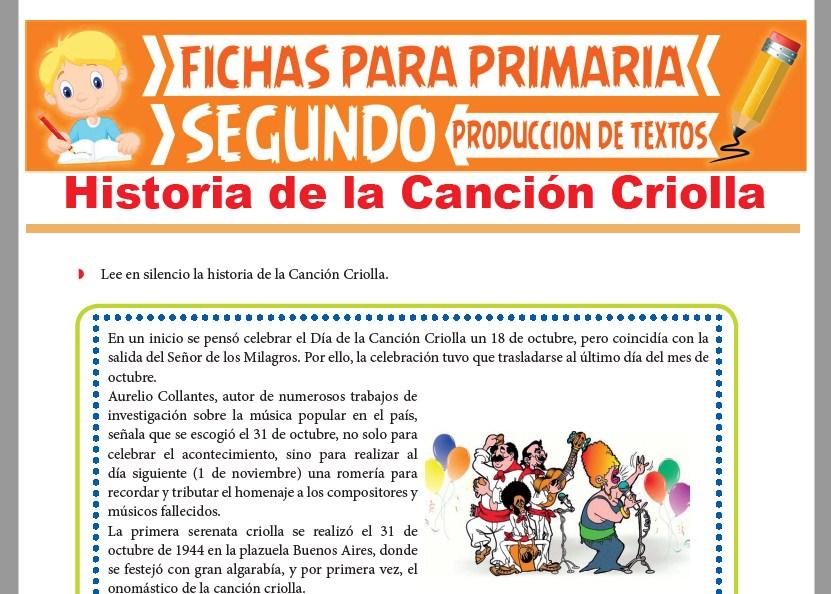 Ficha de Historia de la Canción Criolla para Segundo Grado de Primaria