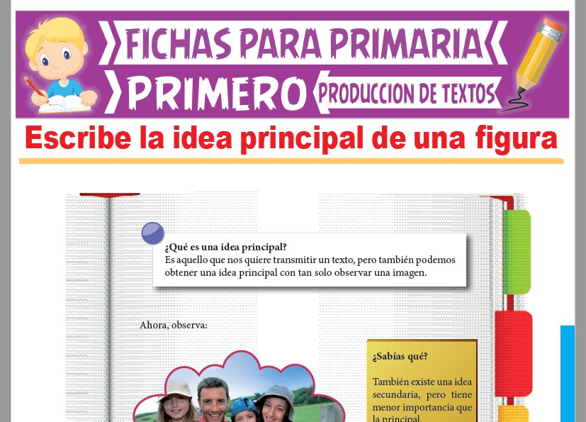 Ficha de Idea Principal de una Figura para Primer Grado de Primaria