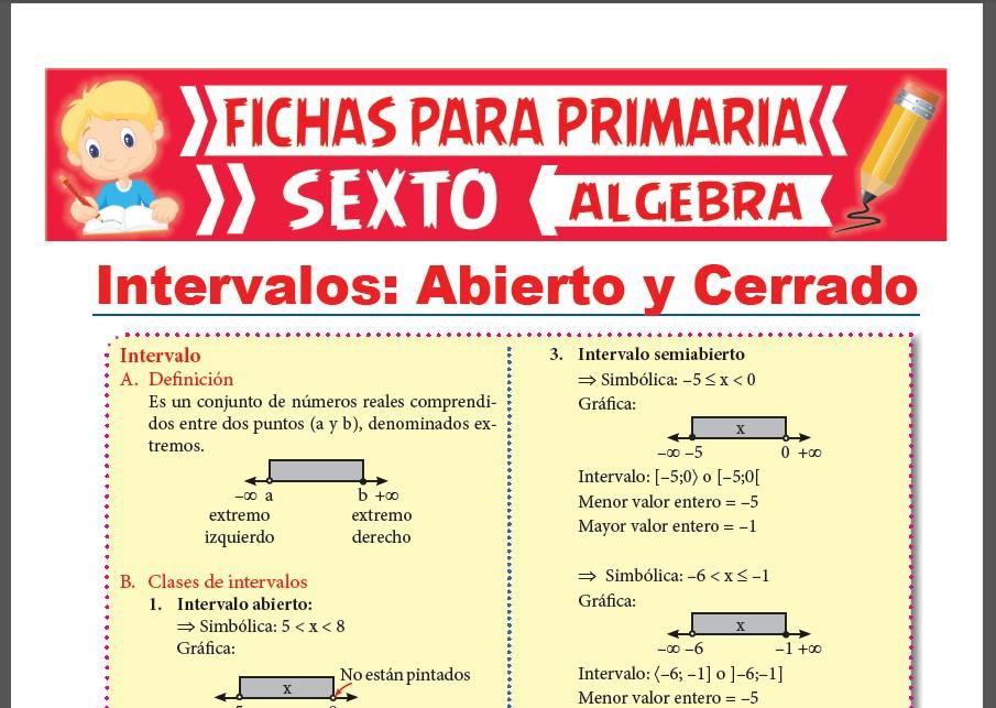 Ficha de Intervalos Abiertos y Cerrados para Sexto Grado de Primaria