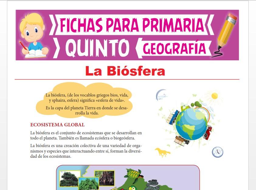 Ficha de La Biósfera para Quinto Grado de Primaria