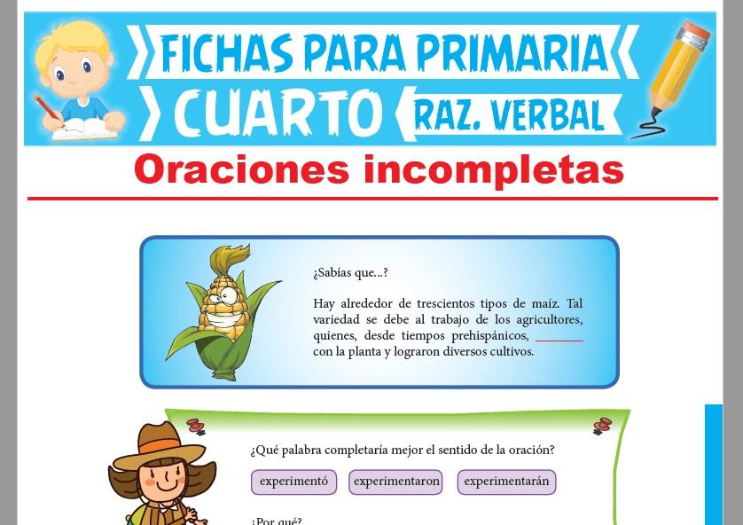Ficha de La Concordancia Gramatical para Cuarto Grado de Primaria