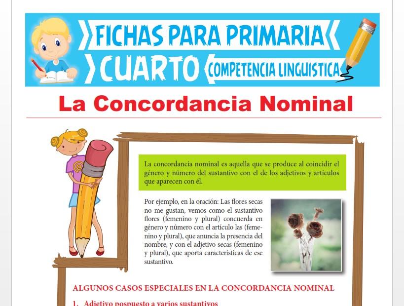 Ficha de La Concordancia Nominal para Cuarto Grado de Primaria
