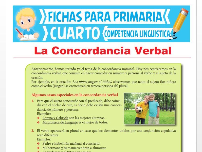 Ficha de La Concordancia Verbal para Cuarto Grado de Primaria