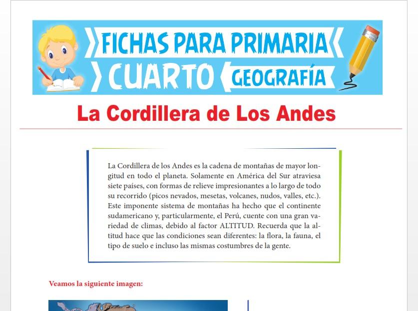 Ficha de La Cordillera de los Andes para Cuarto Grado de Primaria