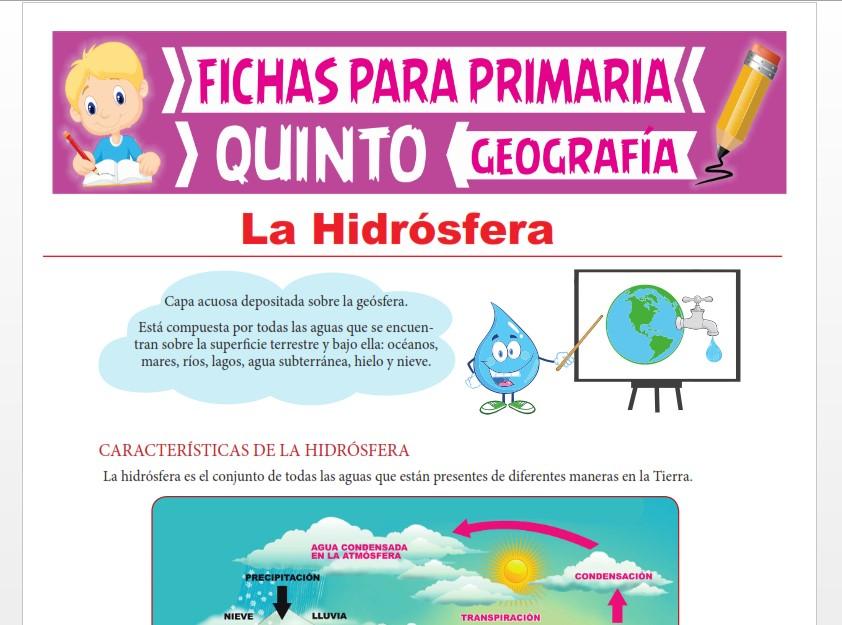 Ficha de La Hidrósfera para Quinto Grado de Primaria