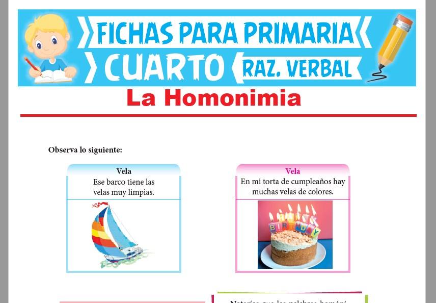 Ficha de La Homonimia para Cuarto Grado de Primaria