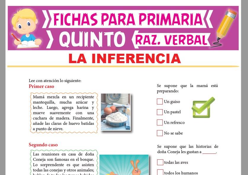 Ficha de La Inferencia para Quinto Grado de Primaria