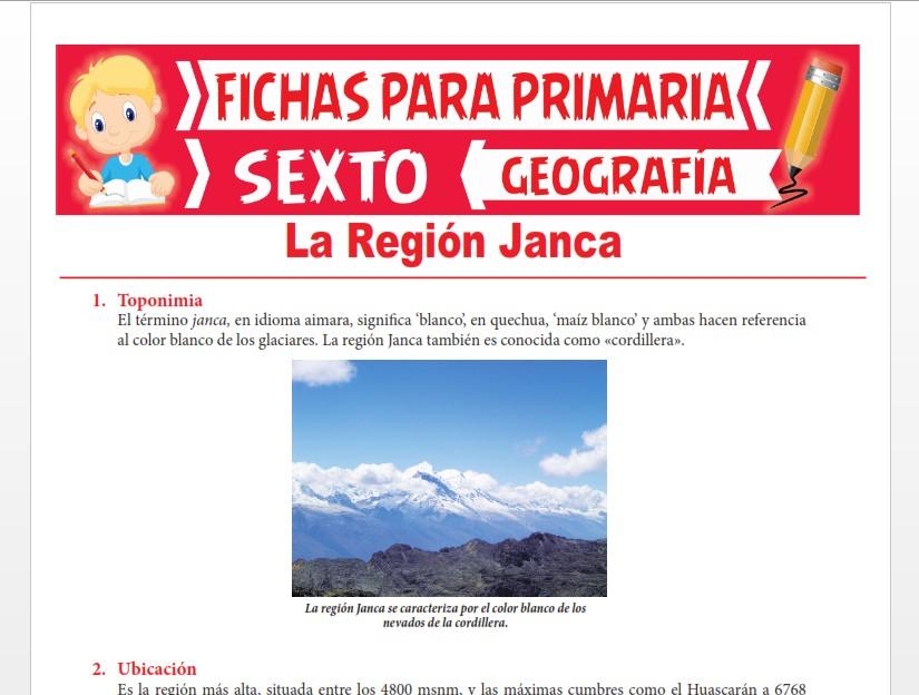 Ficha de La Región Janca para Sexto Grado de Primaria