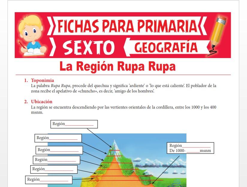 Ficha de La Región Rupa Rupa o Selva Alta para Sexto Grado de Primaria