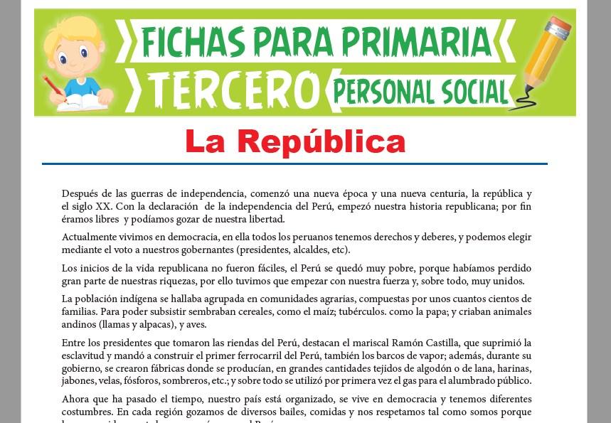 Ficha de La República del Perú para Tercer Grado de Primaria