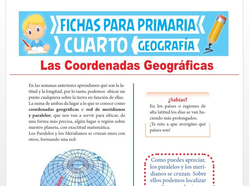 Ficha de Las Coordenadas Geográficas para Cuarto Grado de Primaria