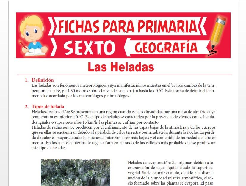 Ficha de Las Heladas para Sexto Grado de Primaria