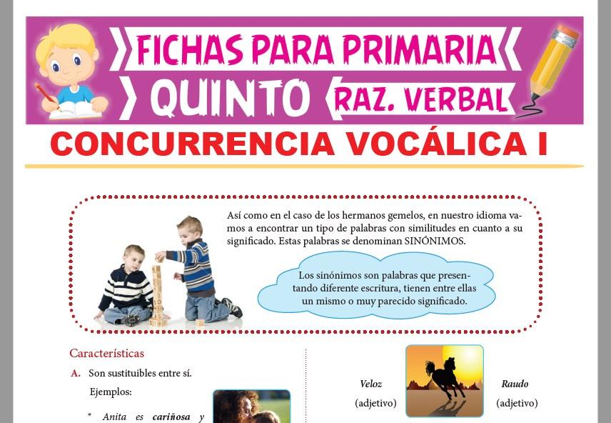 Ficha de Las Palabras Sinónimas para Quinto Grado de Primaria