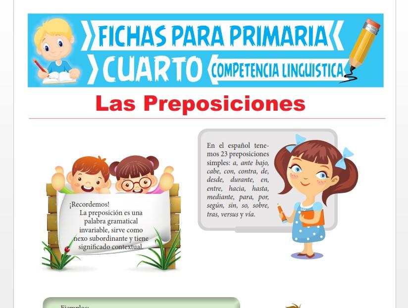 Ficha de Las Preposiciones para Cuarto Grado de Primaria