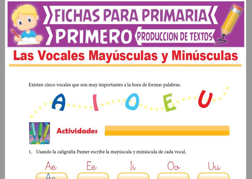 Ficha de Las Vocales Mayúsculas y Minúsculas para Primer Grado de Primaria