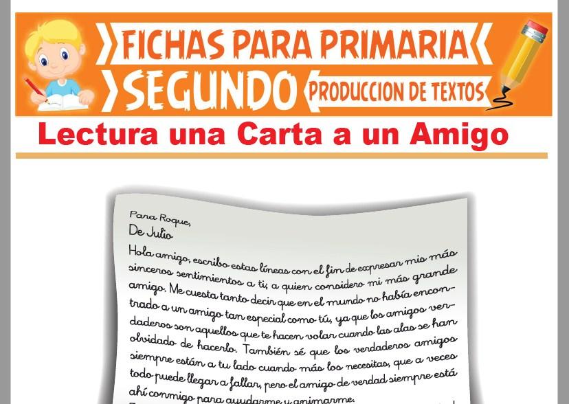 Ficha de Lectura Una Carta a un Amigo para Segundo Grado de Primaria