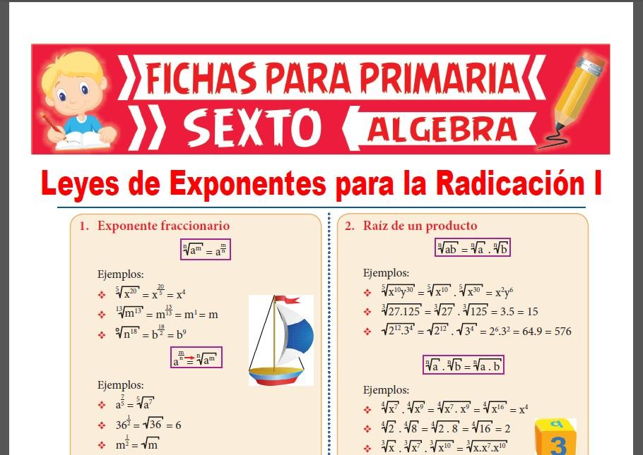Ficha de Leyes de Exponentes para la Radicación para Sexto Grado de Primaria