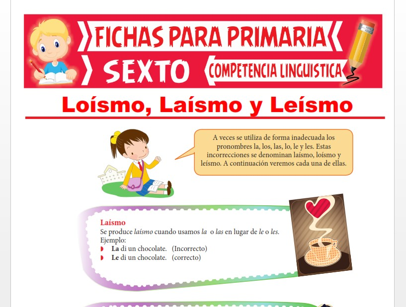 Ficha de Loísmo, Laísmo y Leísmo para Sexto Grado de Primaria