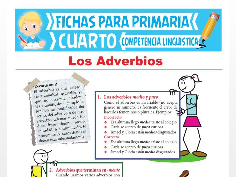 Ficha de Los Adverbios para Cuarto Grado de Primaria