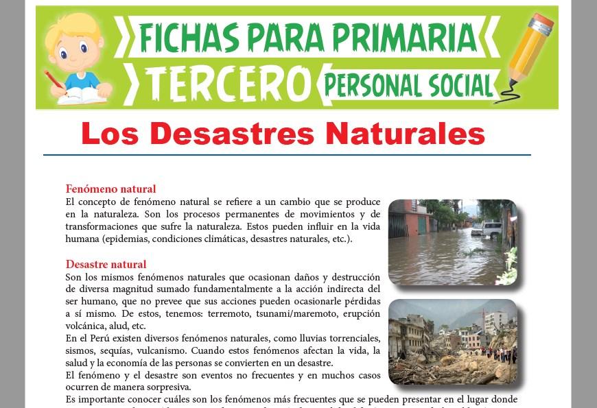 Ficha de Los Desastres Naturales para Tercer Grado de Primaria