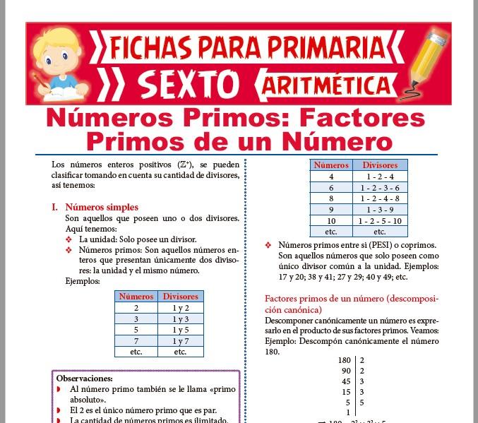 Ficha de Los Números Primos para Sexto de Primaria