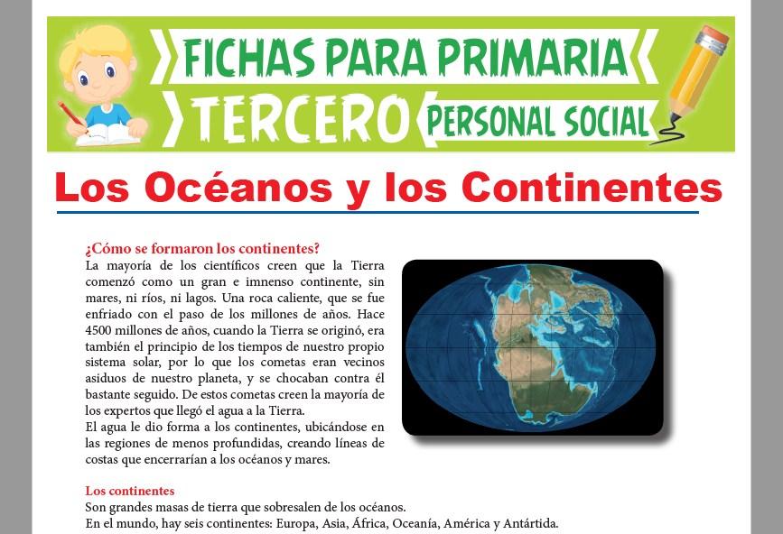 Ficha de Los Océanos y los Continentes para Tercer Grado de Primaria