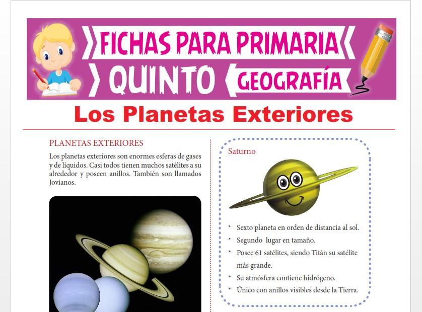 Ficha de Los Planetas Exteriores para Quinto Grado de Primaria