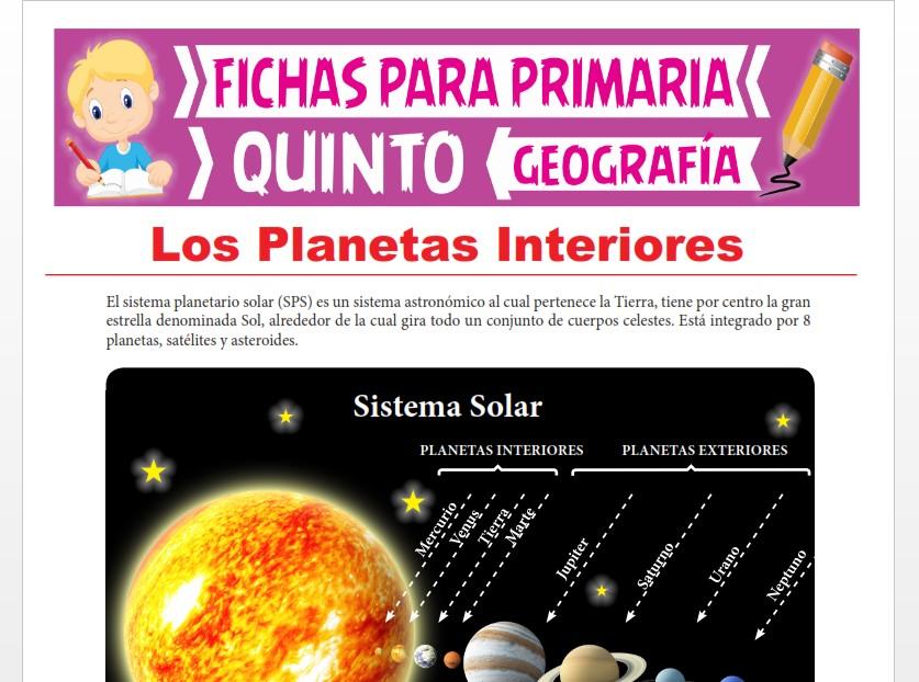 Ficha de Los Planetas Interiores para Quinto Grado de Primaria
