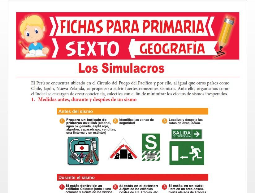 Ficha de Los Simulacros para Sexto Grado de Primaria