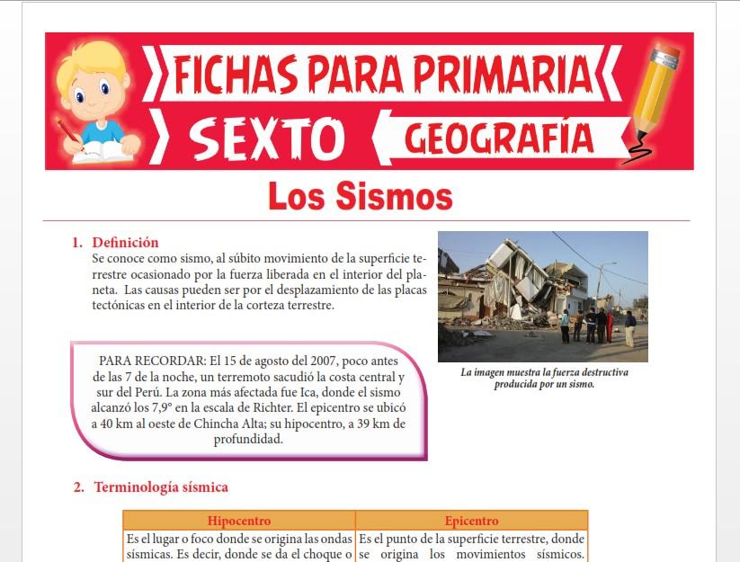Ficha de Los Sismos para Sexto Grado de Primaria