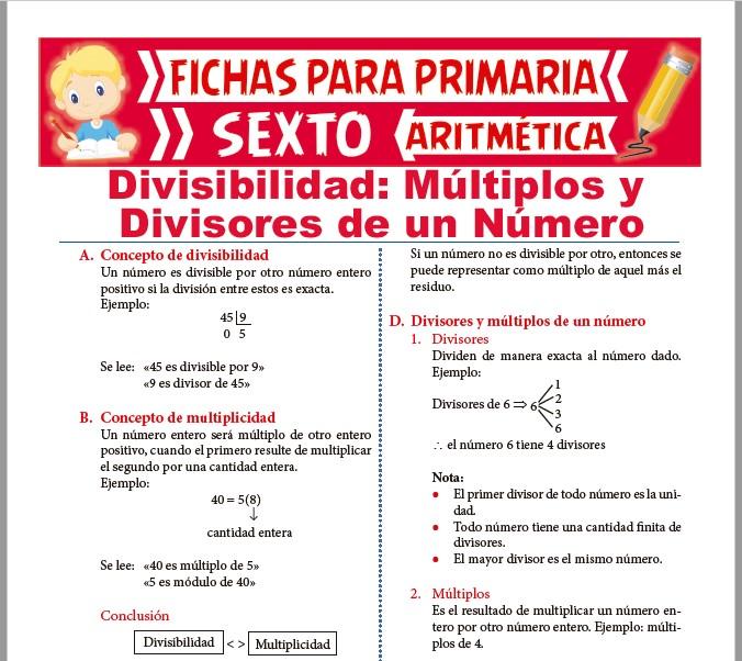 Ficha de Múltiplos y Divisores de un Número para Sexto de Primaria